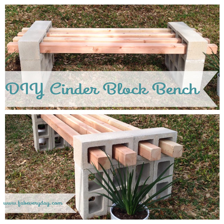 Diy cinder block bench from fab everyday