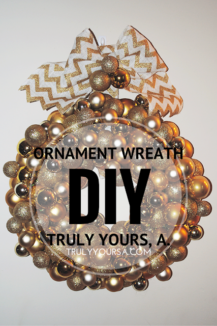 A Pinterest-inspired DIY for making a Christmas ornament wreath.