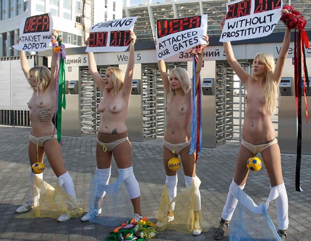 With nude women protest