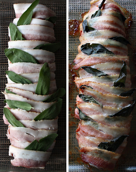 Bacon-Wrapped Pork Roast with Sage