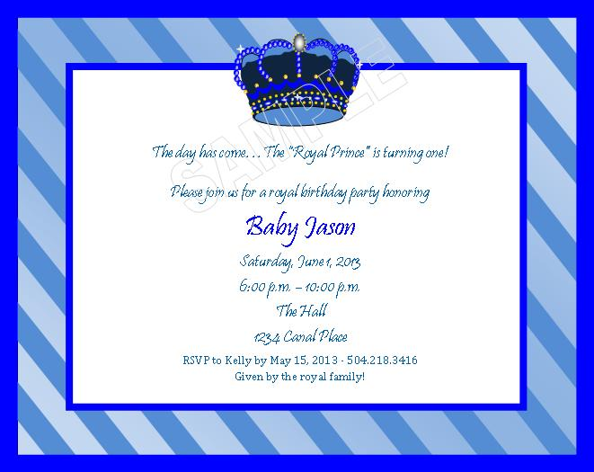 Solutionsevent design by kelly royal prince theme birthday royal prince theme birthday invitations stopboris Gallery