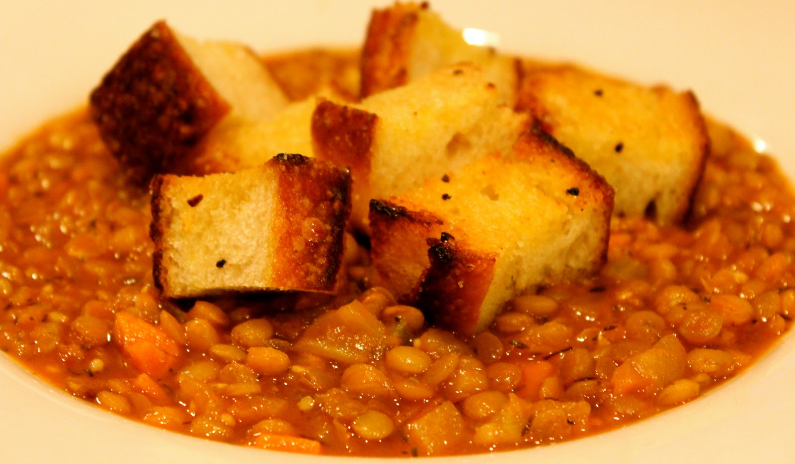 Harmony Household: Vegetable Lentil Soup with Homemade Garlic Croutons