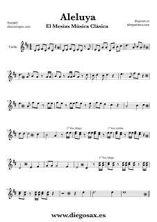 Partitura de Aleluya El Mesías para Violín Haendel  Sheet Music Violin Music Score Hallelujah El Mesías