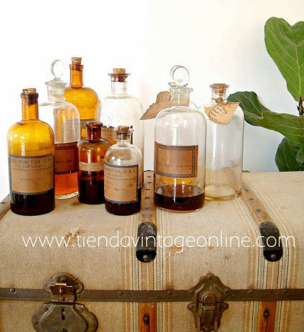 Comprar botellas de cristal antiguas de farmacia cristal ambar