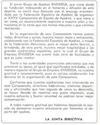 Agradecimiento de ENSIDESA a todos los participantes en el XXXV Campeonato Individual de España de Ajedrez, Llaranes-Avilés 1970