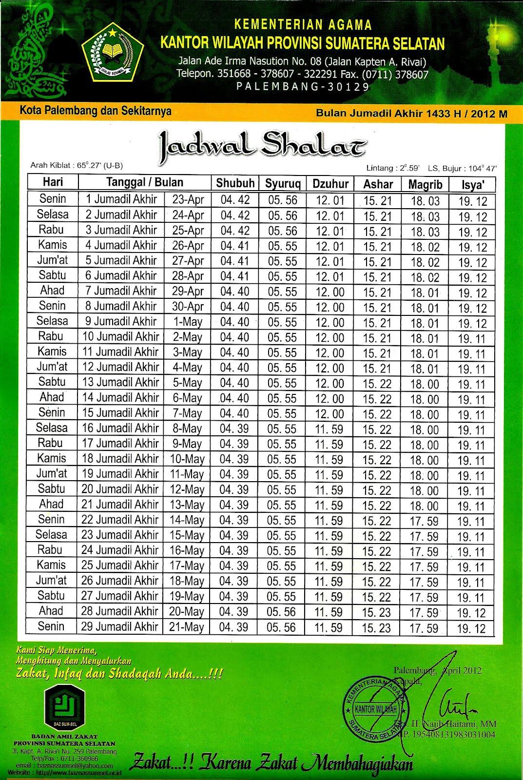 Masjid Amal Bakti: Jadwal Sholat Kota Palembang Bulan