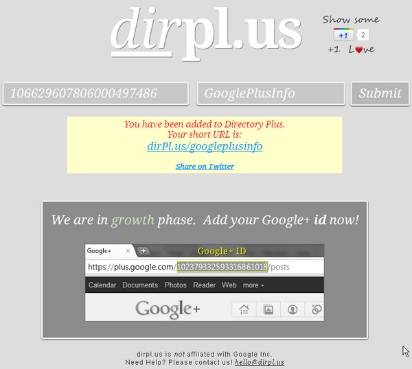 10 Sites to Create Shortened Google Plus Profile URL: dirPl.us