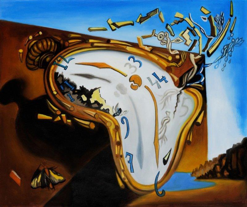 Relógio mole no momento da primeira explosão, por Salvador Dali (1954)