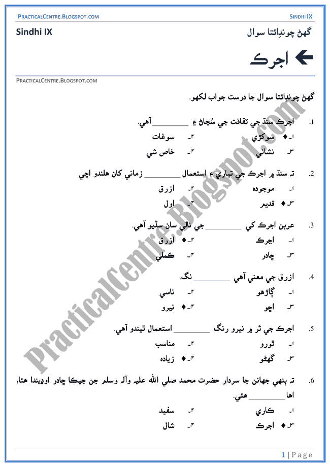 ajrak-multiple-choice-questions-sindhi-notes-ix