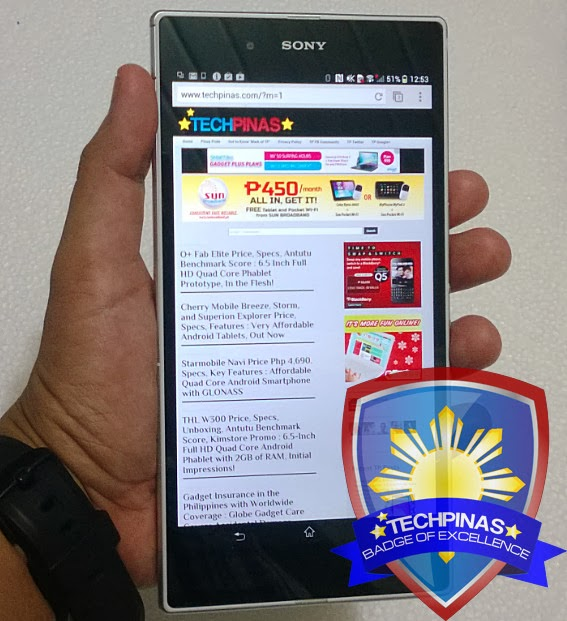 Sony Xperia Z Ultra, TechPinas Badge of Excellence