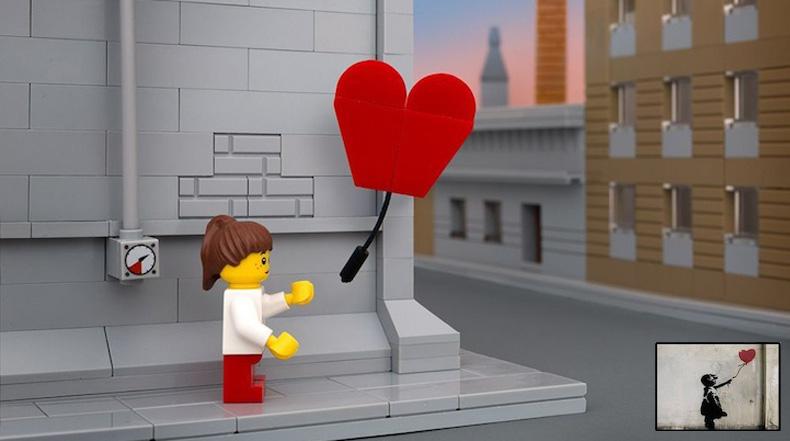 Arte urbano de Banksy re-imaginado en LEGO