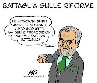 Calderoli, riforme, senato, satira vignetta
