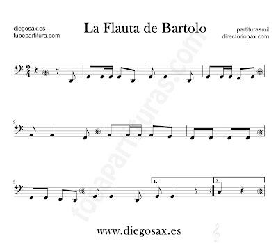 La Flauta de Bartolo partitura para Trombón, Tuba, Violonchelo, Fagot, Bombardino... en Clave de Do
