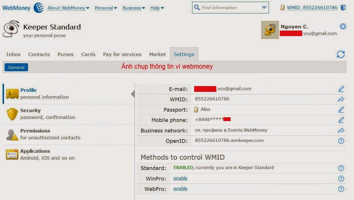 Thông tin định danh ví webmoney