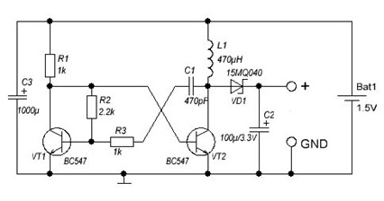 dc to dc converter 1 5v to 3v wiring diagram schematic diy