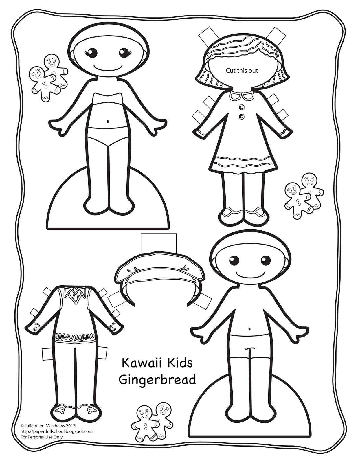 kawaii kids doll 1 gingerbread - Drawing Paper For Kids