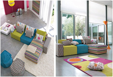 Colorful and joyful Living rooms by livingdiningdecoration.blogspot.com