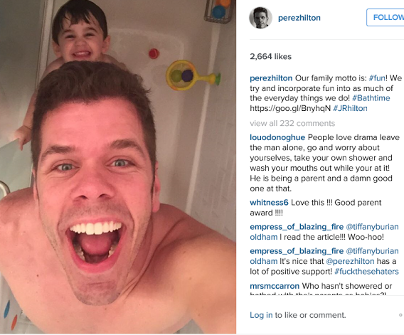 Perez Hilton takes shower with son,picture of Perez Hilton taking shower with 2 year old son,Perez Hilton and son in the shower,