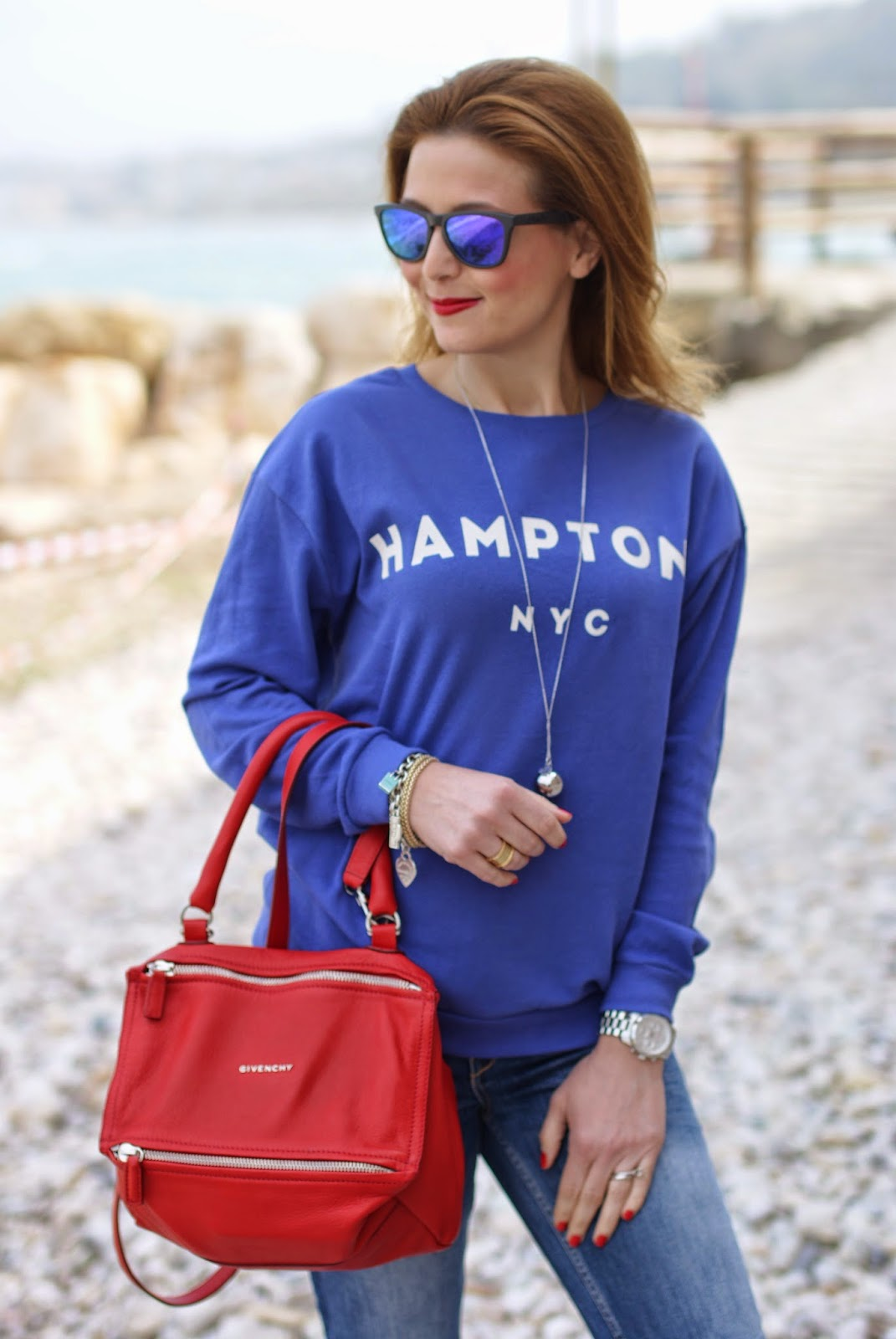 Hamptons hoodie, royal blue sweatshirt, Luca Barra necklace, Fashion and Cookies, red givenchy pandora bag, Fashion blogger, fashion blog