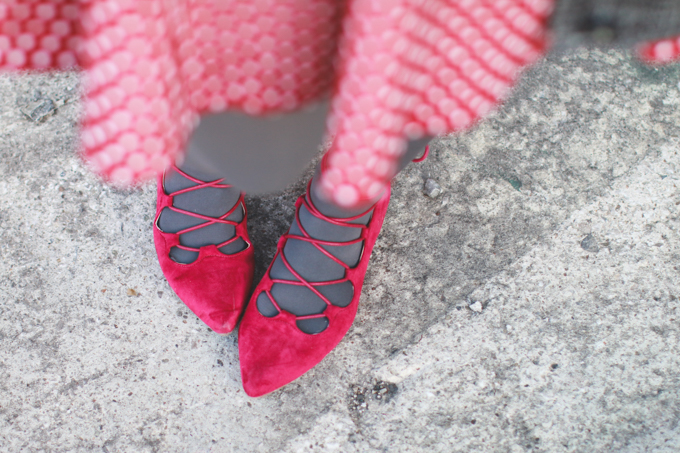 red pointy shoes, what I wore