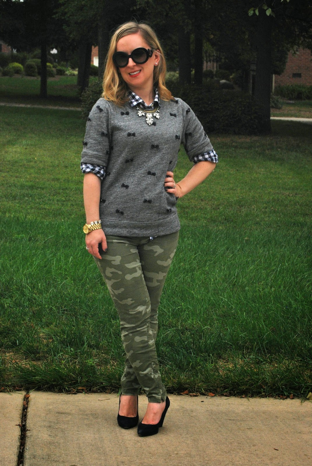 Gap, Camo print, JCrew, bow shirt, loren hope