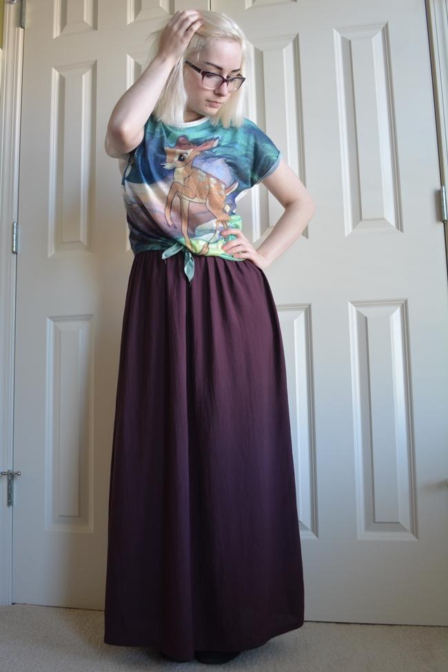 bambi cute disney crop top 90s fashion blogger maxi skirt