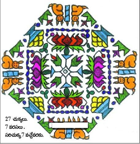 RABBITS AND CANDLES, SWEETS AND FLOWERS = FLORAL KOLAM