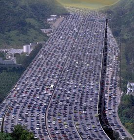 Enormous multi-lane traffic jam