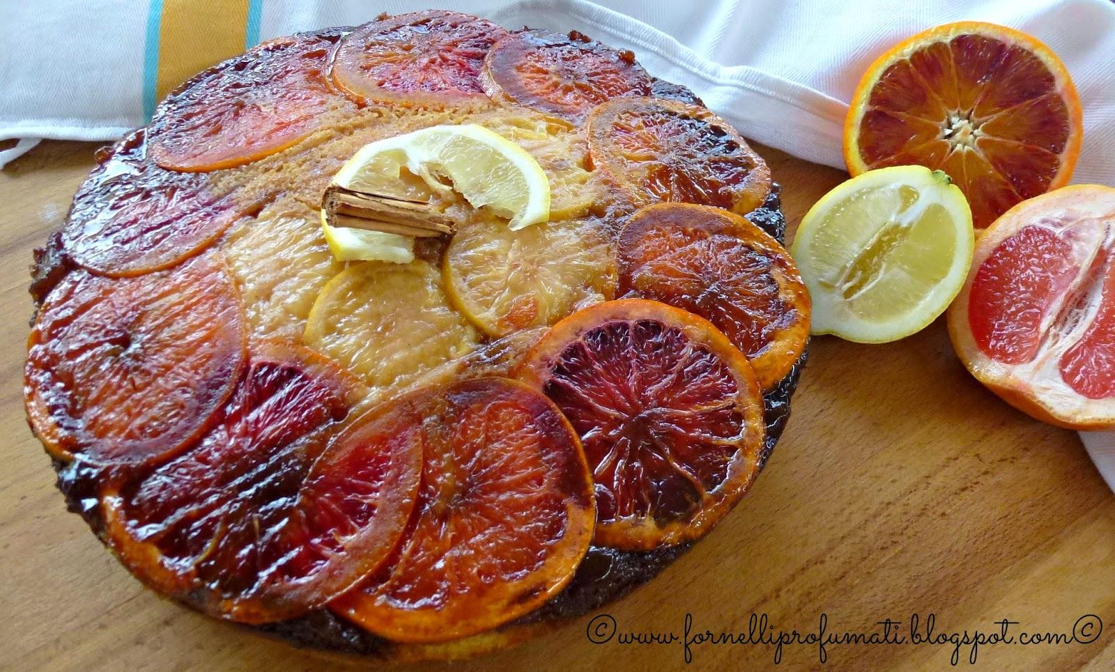 winter citrus upsidedown cake - torta rovesciata agli agrumi con pompelmo rosa, arancia rossa e limone.