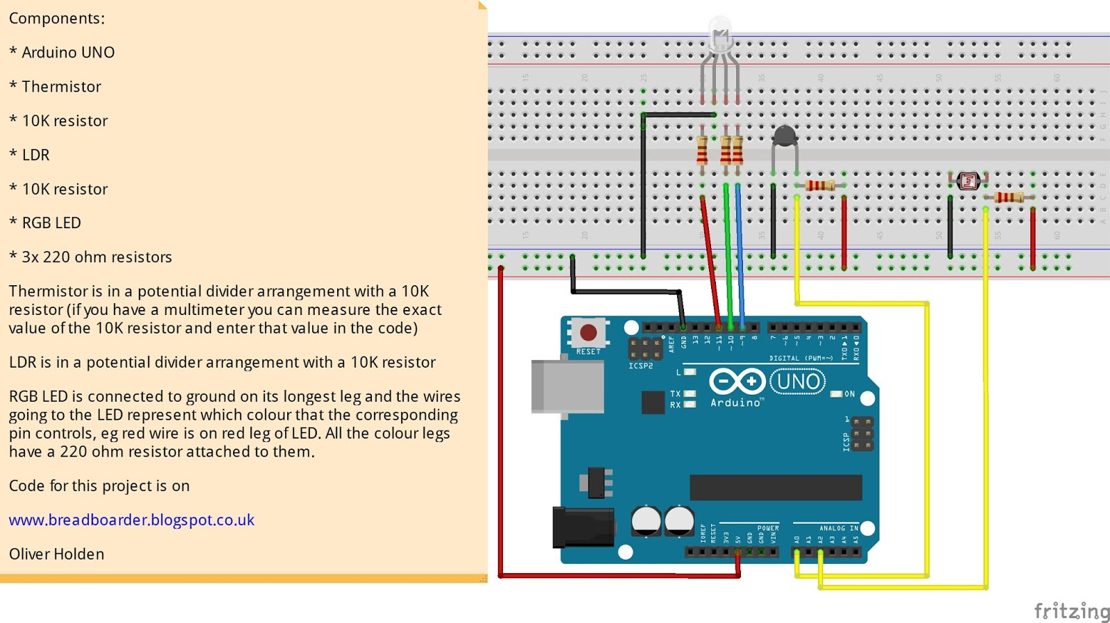Breadboarders: Arduino with a thermistor, LDR and RGB LED that ...