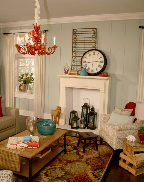 Remodelaholic beach themed living room for Beach themed living room colors