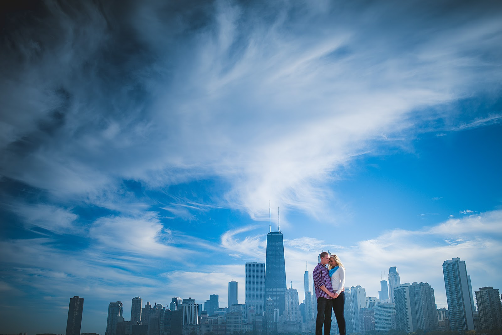 North Avenue Beach Chicago Skyline Engagement Photo