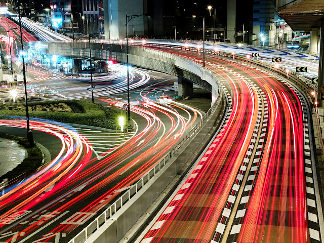 Japan Highways Car Lights Trails Photography HD Wallpaper