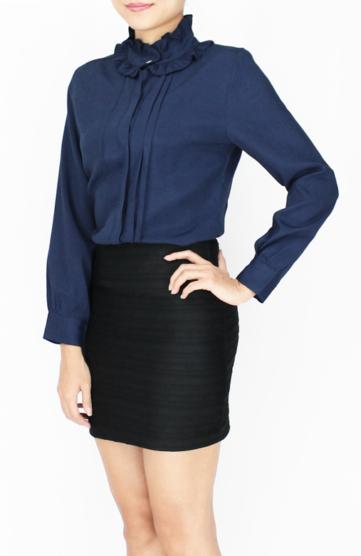 High Neck Frill & Pintuck Shirt 1 Buying working dresses on online boutiques