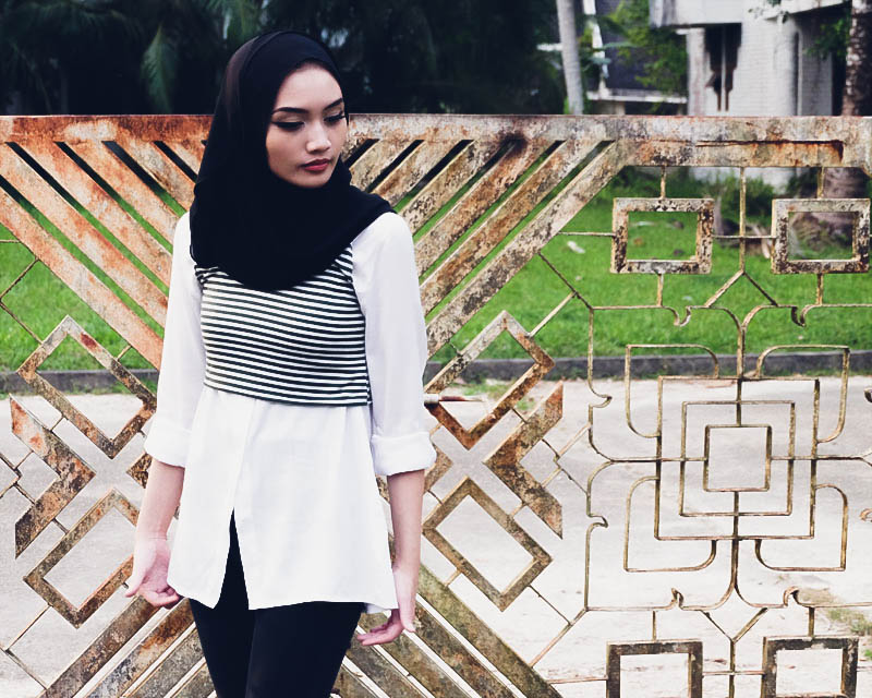 Brunei Hijjabi styling minimalist goth wearing black and white