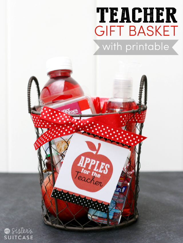 Apples for the teacher gift basket tag my sisters suitcase heres a little take on the most classic teacher gift a teacher gift basket full of apples to give on the first day of school or anytime you really want negle Image collections