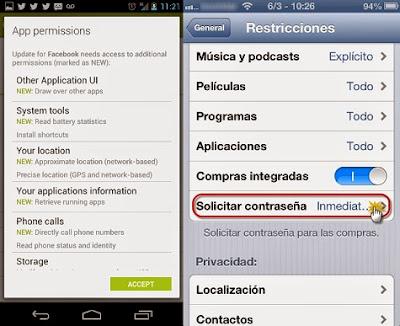 Permisos solicitados por las apps Android e IOS