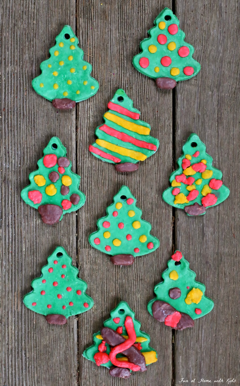A recipe for vibrantly colored ornaments made of bread clay - you probably have everything you need to make these right now!  From Fun at Home with Kids