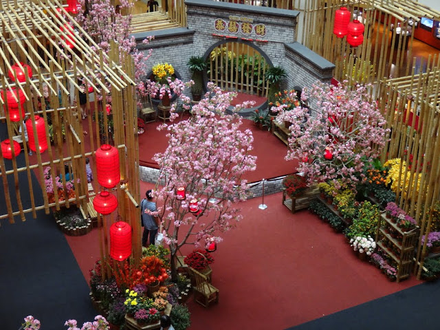 Top view of Chinese New Year mall decoration at Mid Valley Mall in Kuala Lumpur, Malaysia