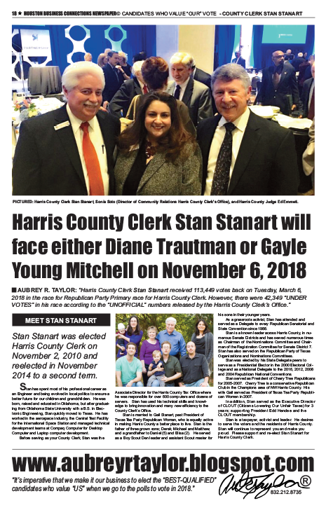 PAGE 18 - HOUSTON BUSINESS CONNECTIONS NEWSPAPER© RUNOFF ELECTION - PART 1 of 3