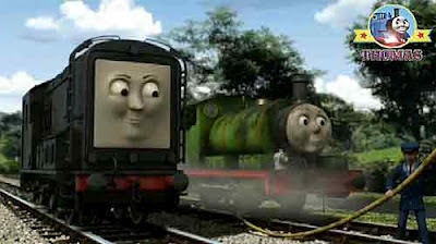 Thomas Diesel the train and Percy the tank engine Island of Sodor funfair organ Calliope instrument
