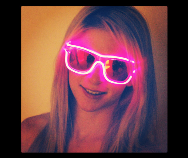 Rayban Wayfarer Inspired, Battery Powered, Glow in the Dark Sunglasses, Light Up, Rave, Halloween Costume, Tron