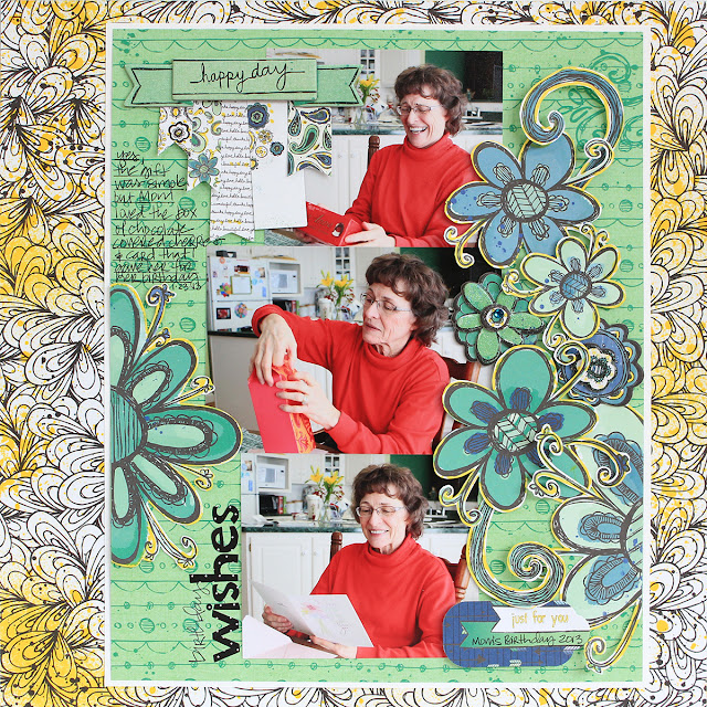 Birthday Wishes Layout by Juliana Michaels for Bo Bunny