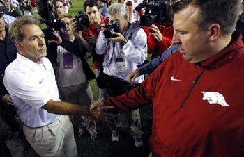 Bret Bielema denies he and Nick Saban are secret allies in war against hurry-up no-huddle offense.