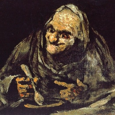 Detail: Two Old Men Eating Soup - Francisco Goya - Dos viejos comiendo sopa