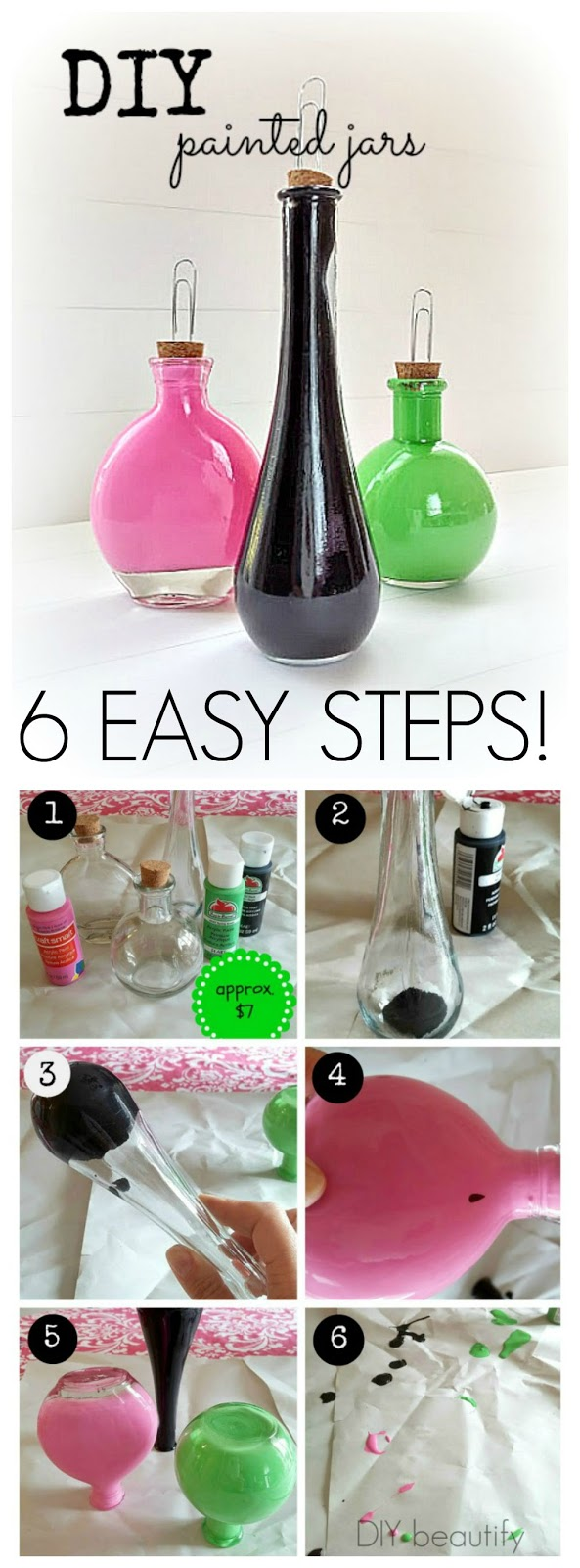 These easy Painted Bottle Photo Holders would make a great gift for anyone on your list! Have you kids help you make them. | DIY beautify