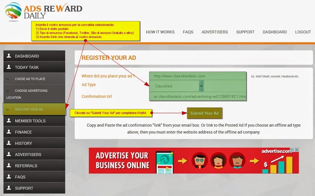 pubblicare l'annuncio giornaliero in Ads Reward Daily - bubmit your ad