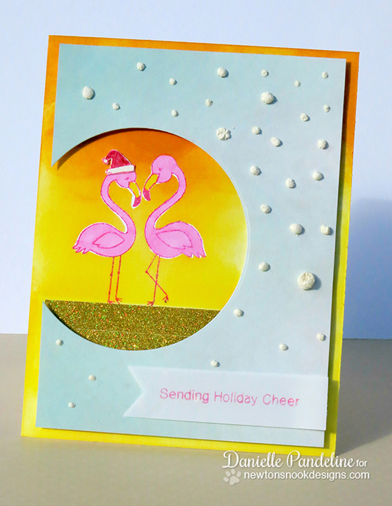 Flamingo Christmas card by Danielle Pandeline using Flirty Flamingos Stamp set | Newton's Nook Designs