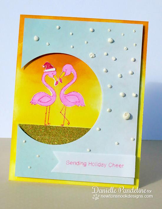 Flamingo Christmas card by Danielle Pandeline using Flirty Flamingos Stamp set | Newton's Nook Designs
