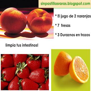 Jugo de naranja , fresas y durazno, recetas vegetarianas